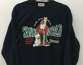 Vintage 90's Santa World Design Skate Sweat Shirt Sweater Varsity Jacket Size M #A10