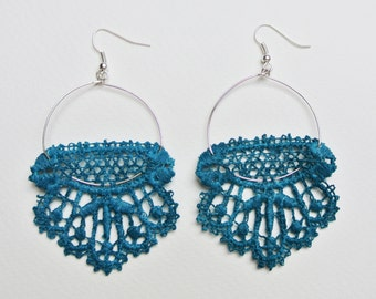"Lace, colorful earrings turquoise ""Spring 1"""