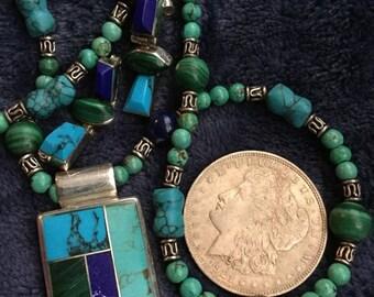 "Vintage Sterling Turqoise Lapis Mexico Necklace Set 20"" 75g"