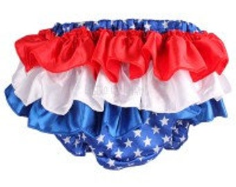 4th of July red white and blue satin bloomers