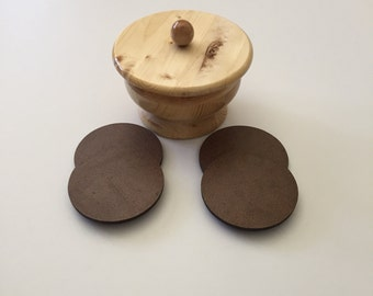 Laminated Coasters and Knotty Pine Pedestal Holder-NEW-Hand Crafted by seller