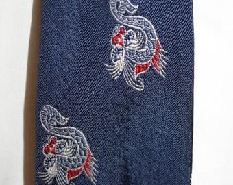 1950s Navy Dragon Print Tie