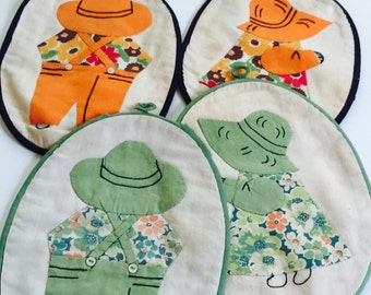 Sunbonnet sue vintage pot holder set of 4