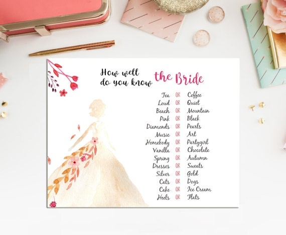 How Well Do You Know the Bride - Bridal Shower Game - Instant Download -Printable Watercolor Flower Bridal Shower Game