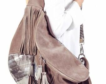SALE! 40% discount. Bag Togo skin grey, bag Togo leather Camel, (before 125,00)