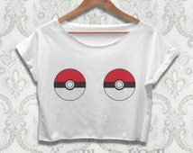 Pokemon Crop Top Shirt Pokemon Go Pokeball Tshirt Clothing For Women Ladies Teen