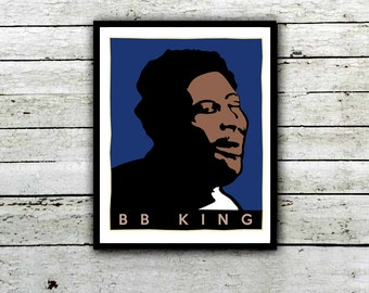 BB King, Blues Poster King of the blues Music Poster, Wall art Blues Art Music Room, Luciele