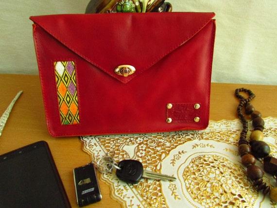 women red clutch, leather clutch bag, red lady's clutch, red Wedding clutch, red evening bag, envelop clutch, women wallet