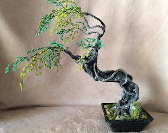 Wind Swept Beaded Tree Sculpture