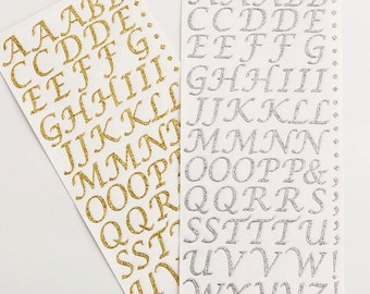 Self Adhesive 15mm Diamante Rhinestone Glitter Alphabet Letters -Rose Gold -Gold- Silver - Crystal