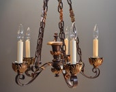 Lovely Small Restored 1930's Iron and Bronze Five Arm Acanthus Leaf Fixture with Ornate Chain and Canopy