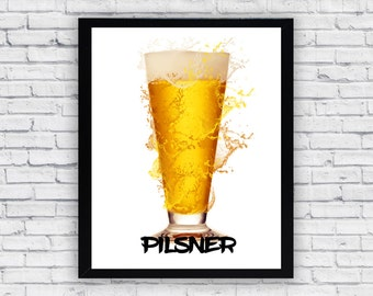 Pilsner Beer Glass Art Print, Beer Pilsner, Printable Wall Art, Pilsner Art Print, Beer Print, Beer Poster, Pilsner Print, Digital Beer