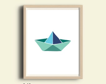 Printable art, Paper Boat art, paper boat  printable, kids room decor, origami boat, nursery decor, nautical  kids art, blue art, 8X10