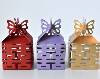 4 Sided Double Happiness Chinese Wedding Favour Box with Butterfly Fastening - Red/Lilac/Gold
