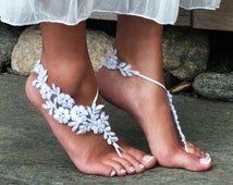 Off-White or Ivory Barefoot Lace Sandals BEADED JAMIE Destination Wedding Shoes Sand Dancers One Size Bride Gift, Bridesmaids, Maid of Honor
