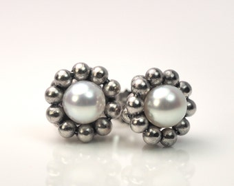 Earrings with pearls-750 white gold unique jewelry design hand made in Germany