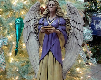 Ceramic Angel, Christmas Angel, Bereavement Gift, Inspirational, Religious, Spiritual, Angel Statue, Outdoor Garden Statue, Sympathy Angel