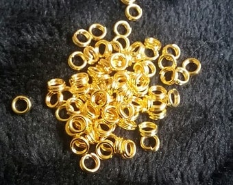 100 Bright Gold Tone 4mm Split Rings