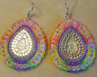 Native American made Beaded Glow in dark earrings