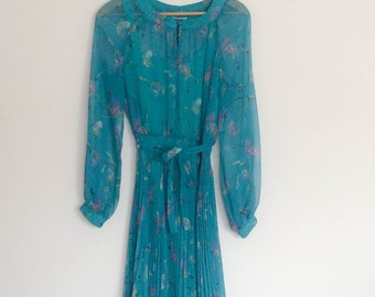 1970s Chiffon Overlay Dress Sheer Vintage