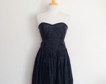 1980s Lizzie Collins Black Silk Strapless Party Dress Vintage