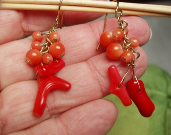 Vintage Coral Branch Earrings