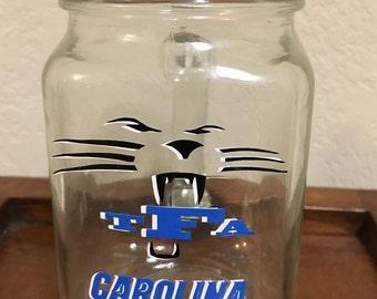 Monogrammed Panthers Mason Jar - Personalized Mason Jar