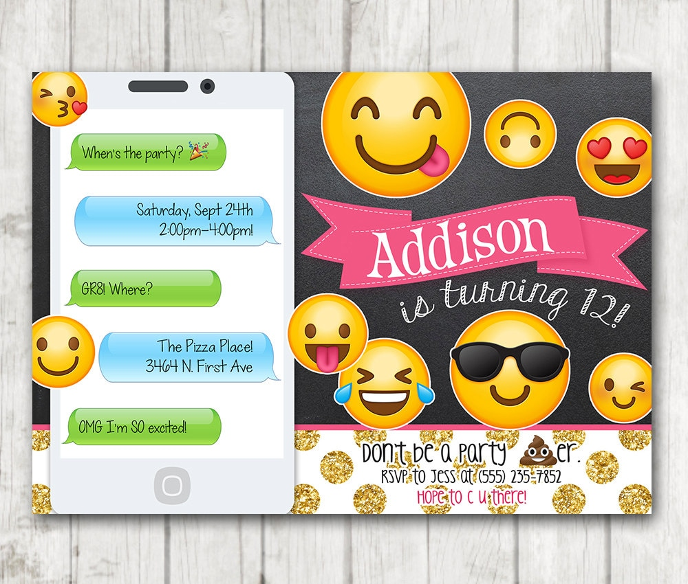 This is a picture of Soft Emoji Invitations Printable