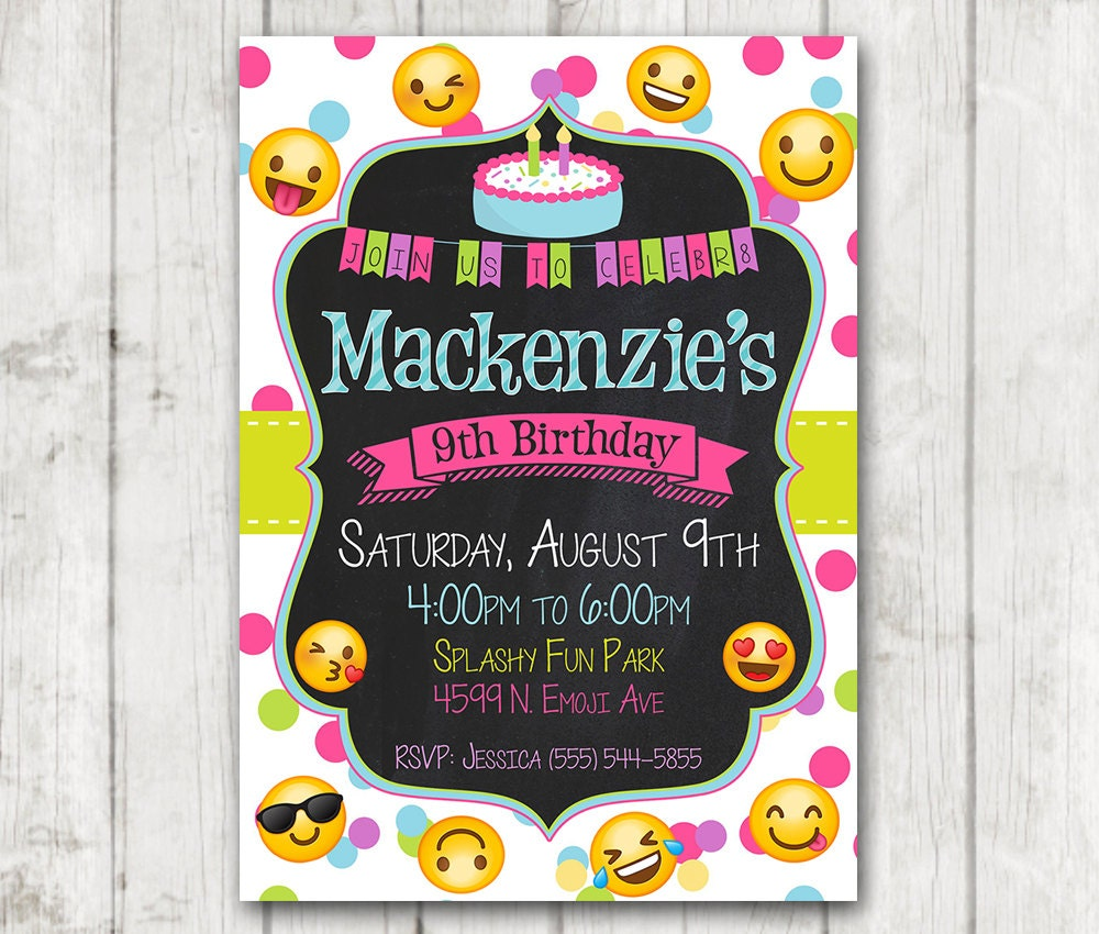 Resource image intended for printable emoji birthday invitations