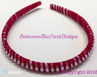 Headband: Red with White Beads