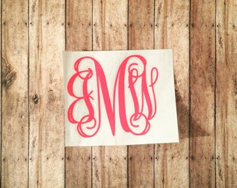 Monogram decal - monogram sticker - monogram initials - vine monogram - tumbler monogram - car monogram -window decal- cup monogram-monogram