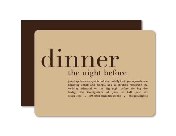 Pre Wedding Dinner Invitation: Dinner The Night Before Rehearsal Dinner Invitation Wedding