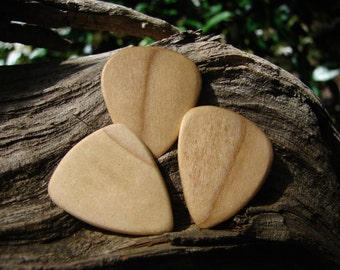 Wooden Guitar Pick, Hand-Crafted, Natural Poplar - 3 pack