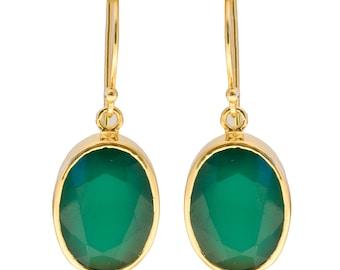 Green Chalcedony Sterling Gilded Silver Oval Drop Earrings