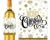Silver Gold Merry Christmas Wine Labels Snowflakes and Confetti Dots Holiday Labels Wine Gifts Personalized Custom Labels Waterproof Vinyl