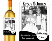Photo Wine Labels Personalized Anniversary Love Conquers All Amor Vincit Omnia Stickers Custom Labels Waterproof Vinyl 3.5 x 5 Inch