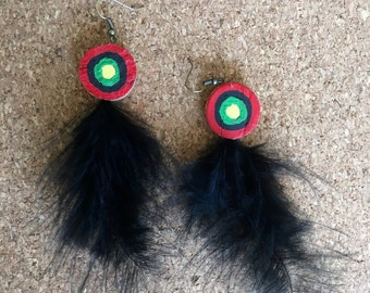 Rasta Inspired Bullseye Wine Cork Earrings with Feathers