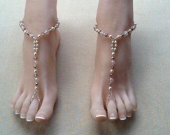 Champagne and Roses Barefoot Sandal