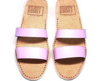 Chic womens lavender sandal, Handmade leather sandal, Strappy shoes perfect for summer.