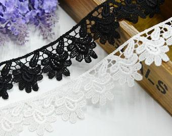"10 yard 3.5cm 1.37"" wide black/ivory embroidery lace trim trims ribbon L22K200 free ship"