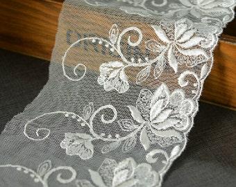 "5 yard 10cm 3.93"" wide ivory mesh embroidery lace trim ribbon L22K317 free ship"