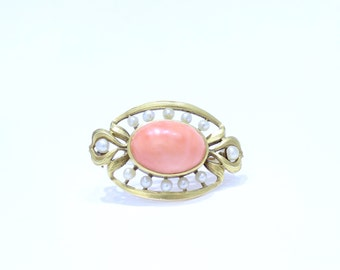 Sweet Antique Art Nouveau 18K Gold and Pink Coral Seed Pearl Brooch