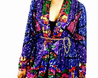 100% Silk Sequin Embellished Asymmetrical Vintage Kimono by Judith Ann
