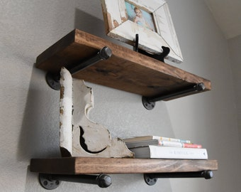 "2 shelf combo - 8"" Deep Industrial Floating Shelves, Rustic Shelf, Wood & Pipe Shelf, Kitchen and Bathroom Wall Shelves"