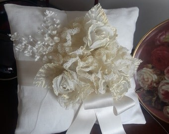 Ring bearer cushion, pure linen with rose, handmade, brides accessories