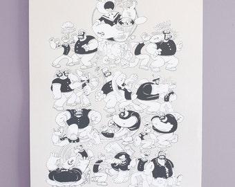 Popeye, 85th Anniversary, Screenprint, Cartoon, Bluto, Art Print, Fleischer, Battle of the Century