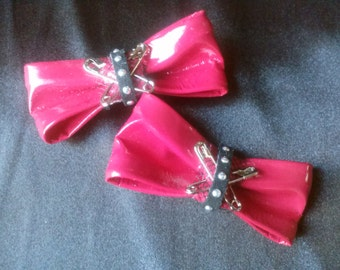Pair Red Pleather Punk Studded Hair Bow Clips