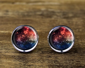 Galaxy cufflinks, space cufflinks, nebula cufflinks