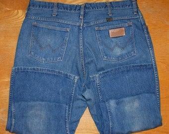 Wrangler, Flared Vintage Jeans, Blue Denim Jeans, 80's, Size XL, Jeans Uomo Vintage, Originale Anni '80, Jeans Zampa Blu, Taglia 52, W38 L32