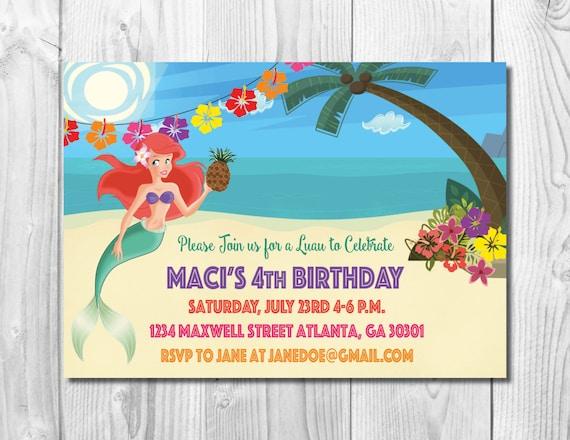 Ariel Birthday Party Invitation >> Mermaid Birthday Invitation << Under the Sea Invite >> Pineapple Luau >> Custom Printable Digital File
